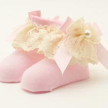 Большие кружевные носки для младенцев; хлопковые носки; впитывающие пот носки для дня рождения для малышей; Праздничные Носки; носки для малышей 0-12 месяцев