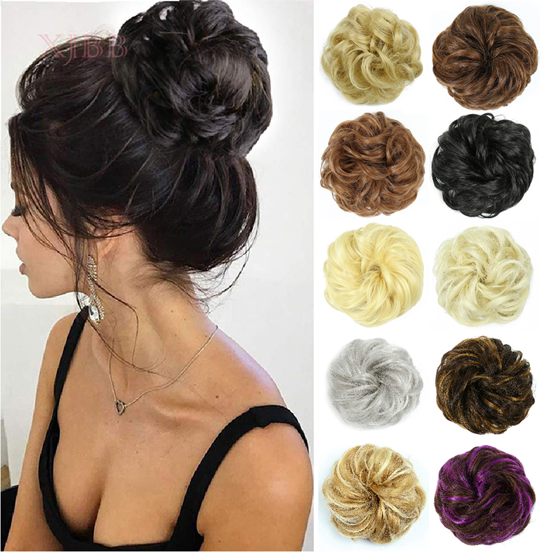 XJBB Synthetic Hair Bun Hairpiece Extensions Ring Wrap Chignon High Temperature FiberHair Piece For Women And Kids