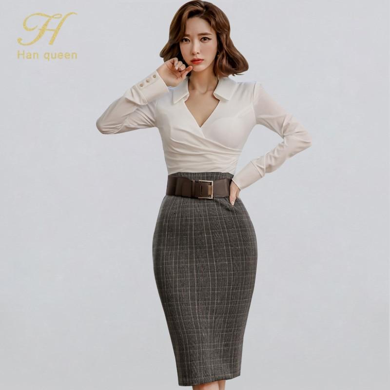 H Han Queen High Waist Grid Fitted Sheath Dress Women Winter OL Turn-down Collar Pencil Dresses Belt Patchwork Bodycon Vestidos