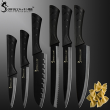 Sowoll 6 Pcs/Set Stainless Steel Kitchen Knives Set Sharp Black Blade Bread Knife Meat Fish Cleaver Chef Knife Set Cooking Tool bread knife opinel parallele 33 6 cm yellow