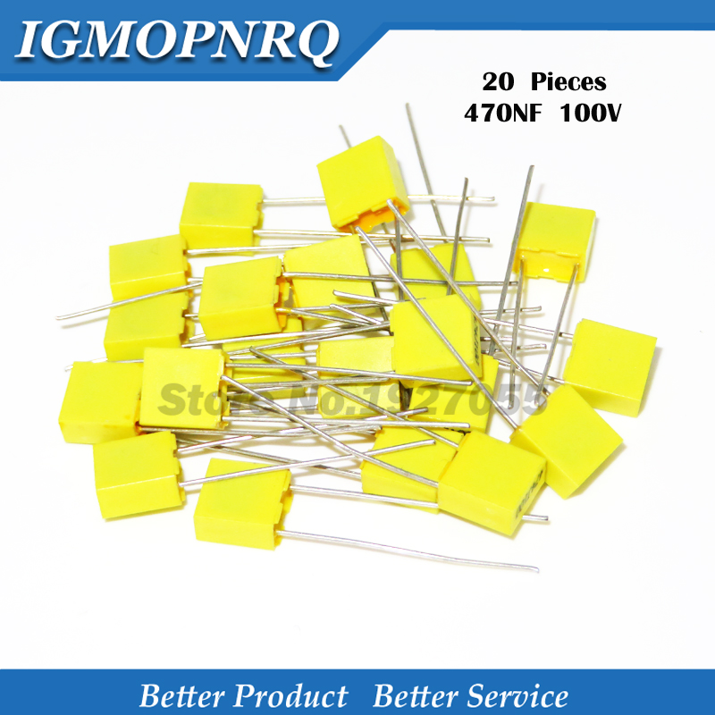 20PCS Correction Capacitor 470NF 474J 100V 5mm Polypropylene Safety Plastic Film Capacitor New