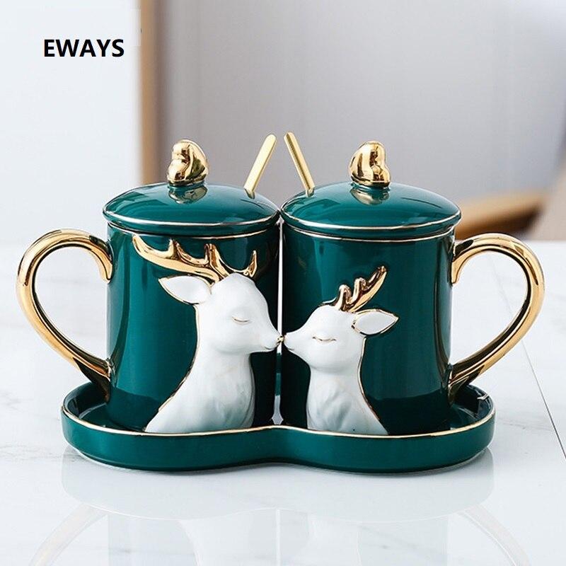 EWAYS-tasse de Couple en céramique | Ensemble de 2 pièces/ensemble tasse de amour créative avec plateau cuillère couvercle, cadeaux d'anniversaire de mariage de la saint-valentin avec boîte-cadeau