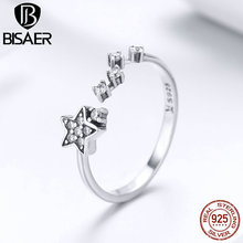 BISAER Silver Ring 925 Sterling Silver Galaxy  Stackable Star Open Free Size Finger  Ring for Women Fine Jewelry HSR440 bisaer silver rings 925 sterling silver pet french bulldog open finger ring for women silver ring fashion jewelry hsr411