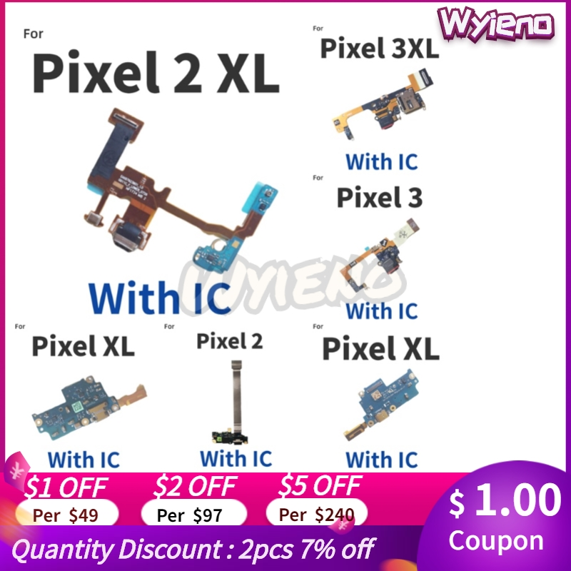 Wyieno For HTC Google Pixel 2XL XL 2 3 3XL 3A Charger Port Board USB Charging Connector Flex Cable Plug +Tracking