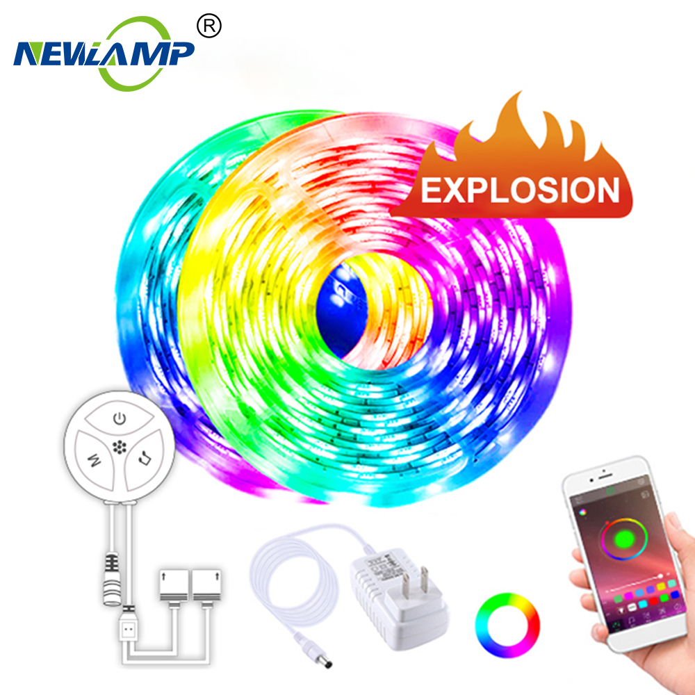 Smart Strip Light 5M 10M Waterproof Special RF433 Controller RGB 5050 LED light strips Phone App Controlled Music Light image
