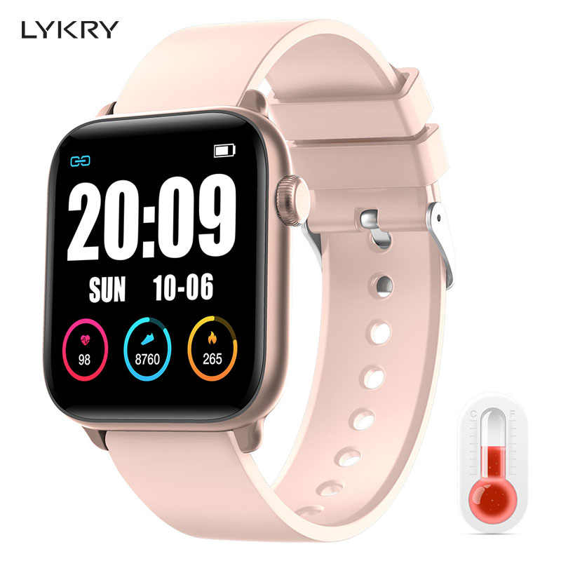 Lykry KW37pro Bluetooth Smart Horloge Temperatuur Hartslagmeter Full Touch Screen Smart Horloges Voor Apple Xiaomi Vs Iwo 8 9