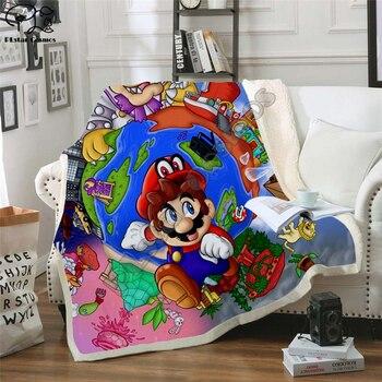 Super Mario Cartoon Blanket Design Flannel Fleece Blanket Printed Children Warm Bed Throw Blanket Kids Blanket style-1 фото