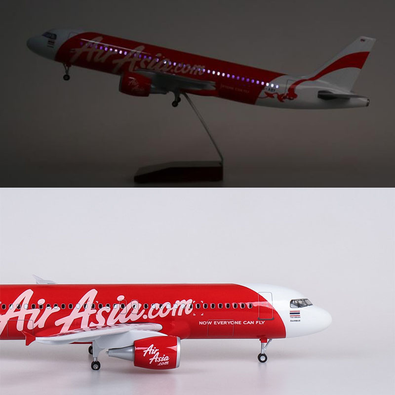 1/150 45CM AirAsia Airliner A320Neo Resin Model Aircraft With Sound And Light Aircraft Model Collectibles Kids Gifts
