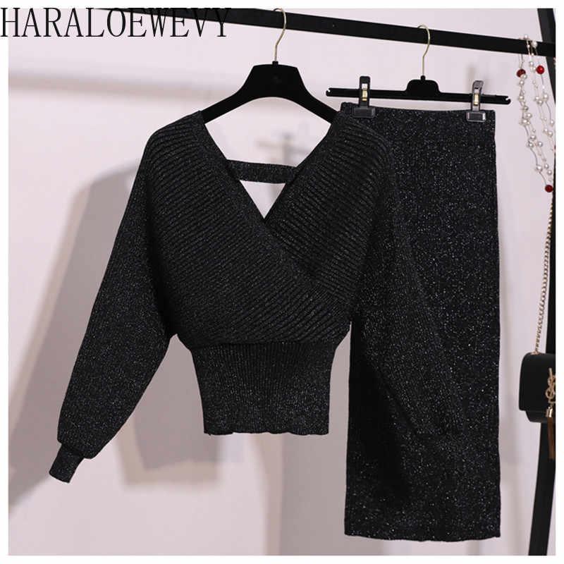 春ブリンブリンニット 2 個セット女性のランタンスリーブ v ネックセーターウエストスカートの女性のセータースーツ N945