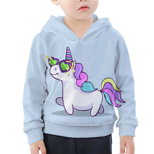Rainbow Unicorn Hoodies Girls Casual Sweatshirt For Boys Cute Cartoon Sunglasses