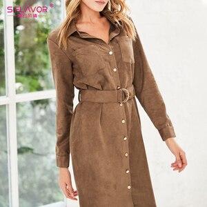 Image 4 - S.FLAVOR 가을 겨울 여성 스웨이드 셔츠 드레스 빈티지 긴 소매 사무 작업 드레스 우아한 여성 솔리드 무릎 길이 드레스