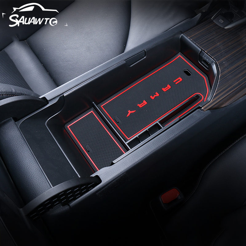 Car Armrest Box Storage Stowing Tidying Container Organizer Holder Case Tray For Toyota Camry <font><b>70</b></font> XV70 <font><b>2018</b></font> 2019 2020 Accessories image