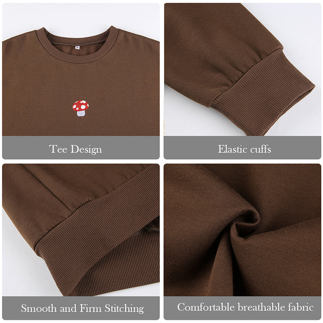 Brown Sweatshirts Y2K 2021 New Fashion Embroidery Mushroom Indie Aesthetic 90s Long Sleeve Hoodies Graphic Crewneck Clothes 6