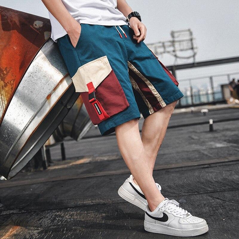 2021 летние шорты мужские повседневные спортивные брюки карго штаны средней длины, модные однотонные Цвет свободные тонкие с карманами трени...