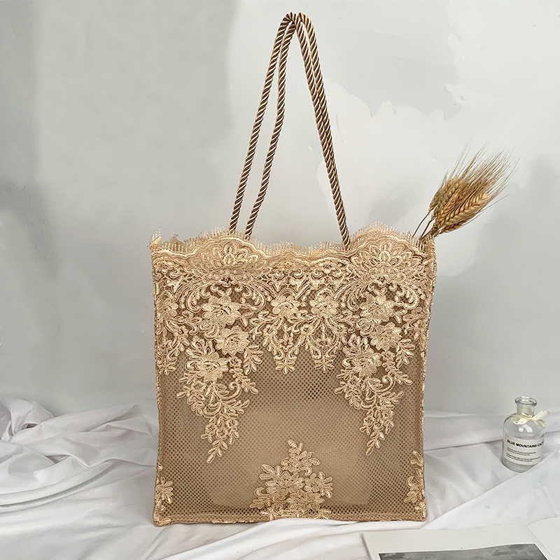Embroidered Hollow Straw Bag Fashion Lace Handbags Large Capacity Women Shoulder Bags Summer Casual Beach New 2019