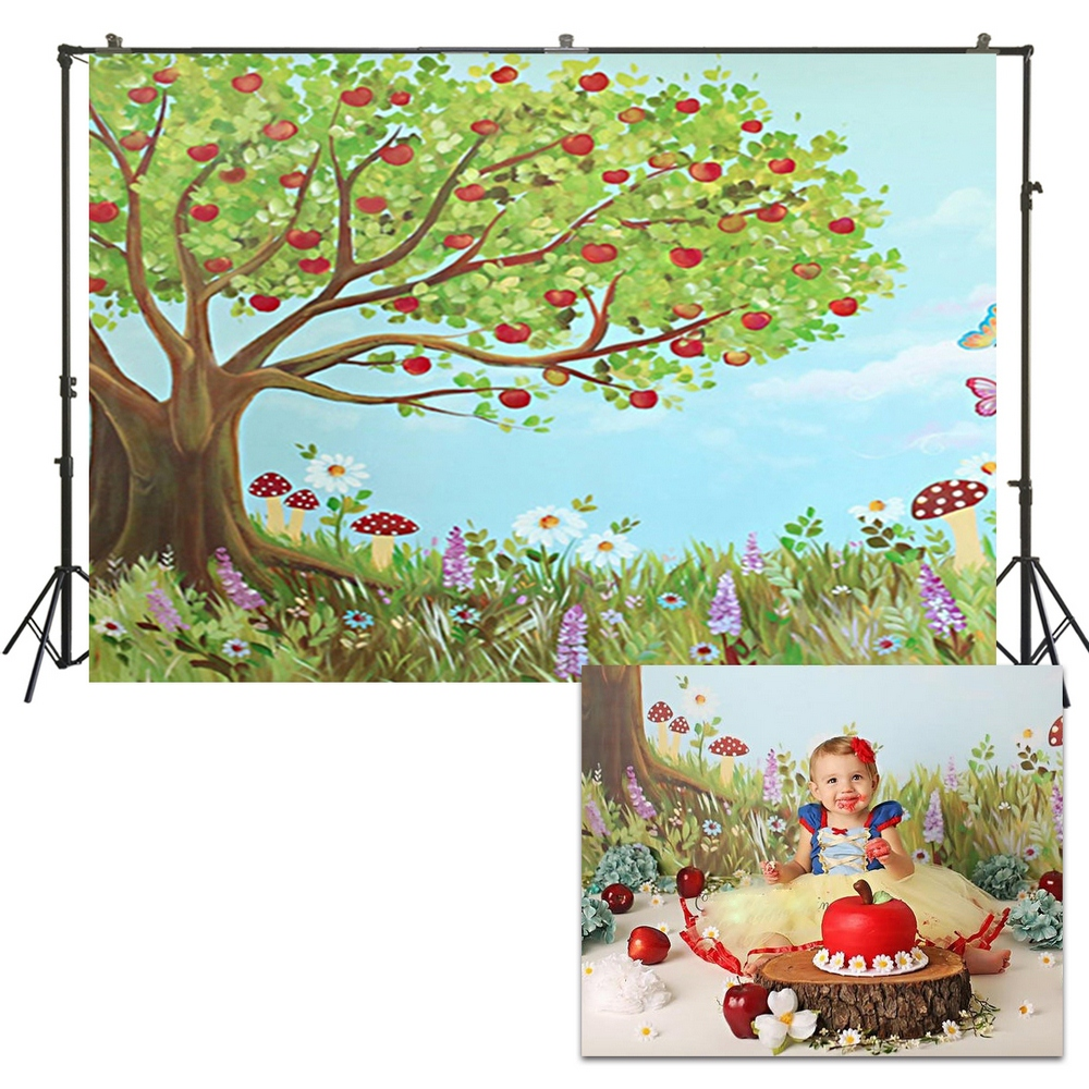 Artistic Photography Apple Tree Mushroom Butterfly Background Backdrops Spring Picture Children Birthday Photoshoot Us265 Background Aliexpress