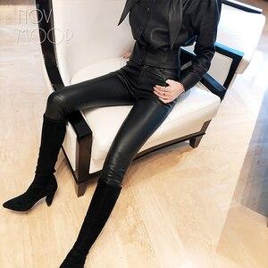 Image 3 - אמריקאי הולם סגנון נשים החורף שחור בינוני מותניים כבש אמיתי עור למתוח מכנסי עיפרון pantalon femme LT2972