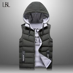 Mens Winter Vest Down Vest Men Casual Waistcoat Sleeveless Jackets Men Hooded Vest Worn On Both Sides Hat Detachable New Top 4XL