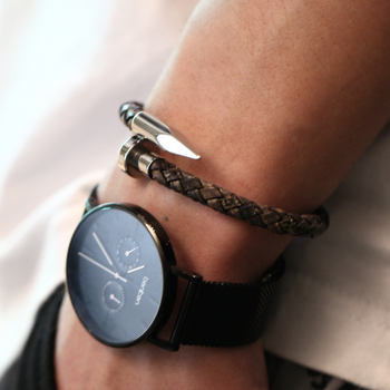 Mcllroy vintage genuine leather stainless steel magnetic clasp bracelets for women men