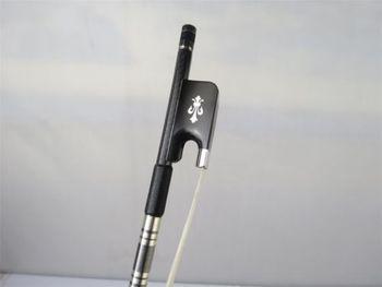1Pcs round stick black plaid Carbon fiber CELLO bow 4/4, fleur-de-lis frog 10203