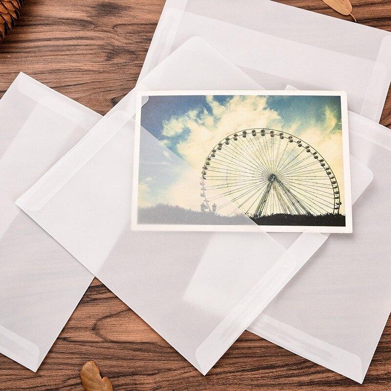 5pcs/set Wallet Envelope 17.5*12.5cm Korea Vintage Blank Translucent Paper Envelopes Diy Gift