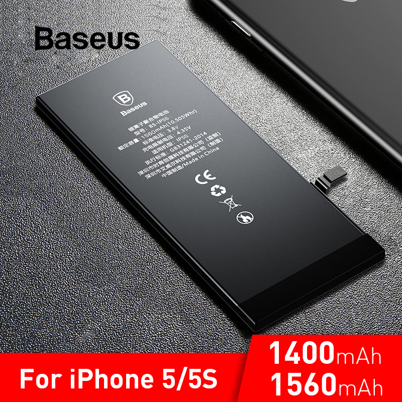 Baseus For IPhone 5 5S Original Battery 1560mAh High Capacity Replacement Batteries For IPhone 5S With Free Repair Tools
