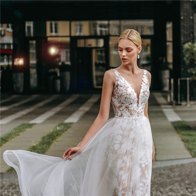 Spaghetti Straps Dark Champagne Lace and Tulle Sheath Wedding Dress with Crystals Open Back Long Elegant Bridal Dress 3