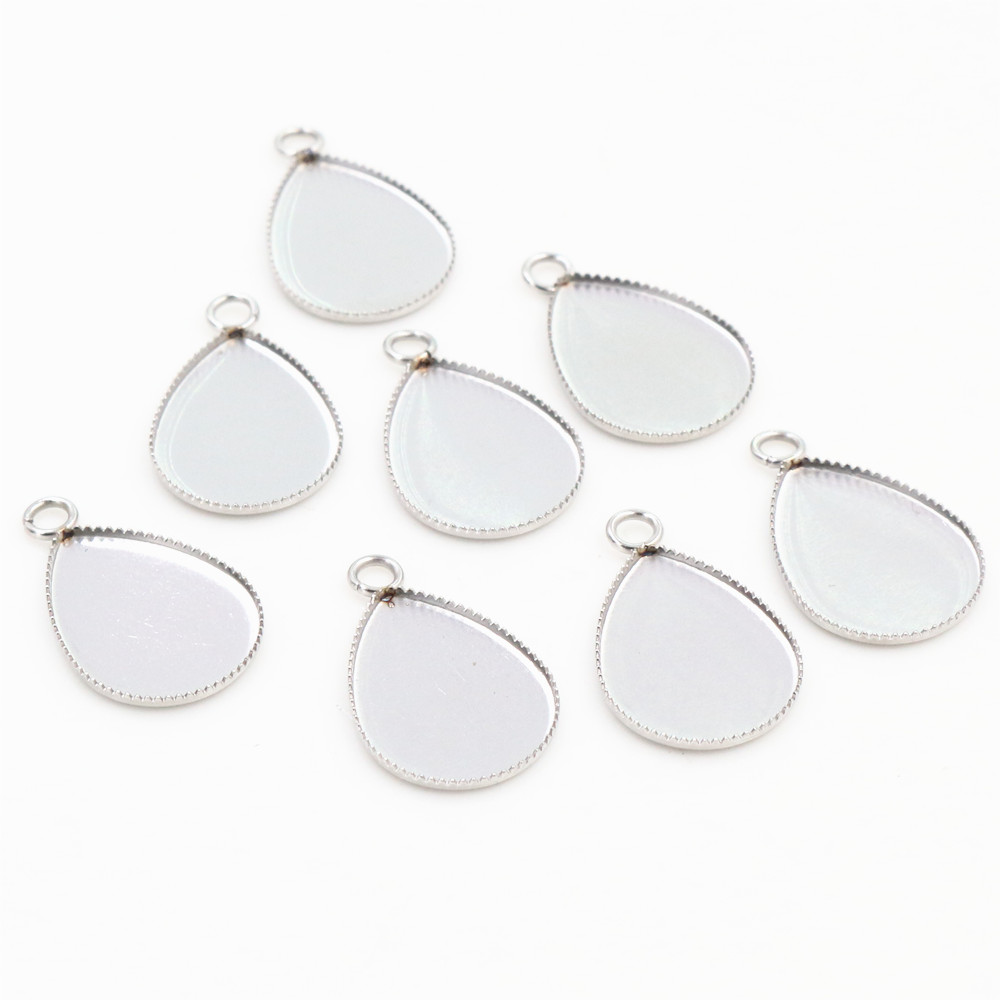 ( No Fade ) 20pcs 13x18mm Inner Size Stainless Steel Material Drop Style Cabochon Base Cameo Setting Pendant Tray (D2-69)