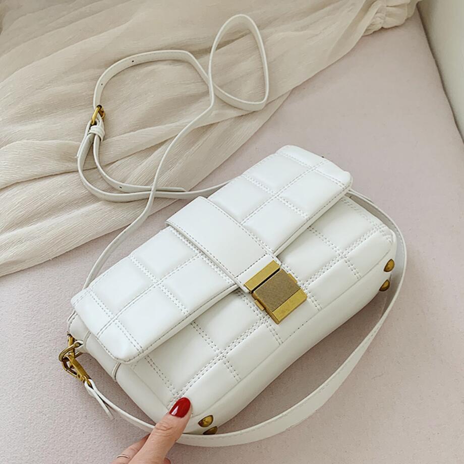 Elegant Female Plaid Tote Bag 2020 Fashion New High Quality PU Leather Women's Designer Handbag Lock Shoulder Messenger Bag