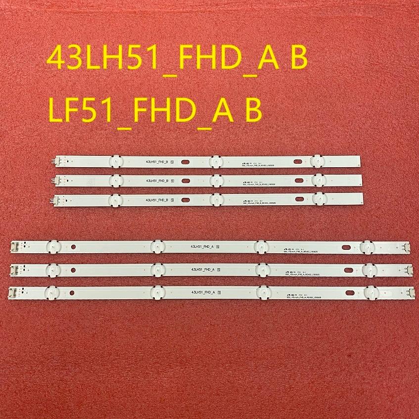 6 Pçs/set tira retroiluminação LED para LG 43LF510V 43LF5100 43LH5100 43LH5700 43LH570A 43LH520V 43LH590 43LJ515V 43LH510V 43LH570V|Tiras de LED|   -