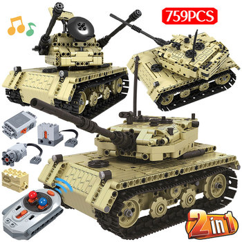 759pcs 2 in 1 Military Electric RC Remote Control Tank Building Blocks Compatible City Technic Bricks Gift Toys For Boys