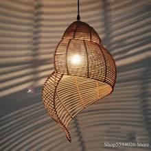 Lustre Suspendu en bois de conque, style Pastoral, Art créatif, asie du sud-est, décoration pour Loft