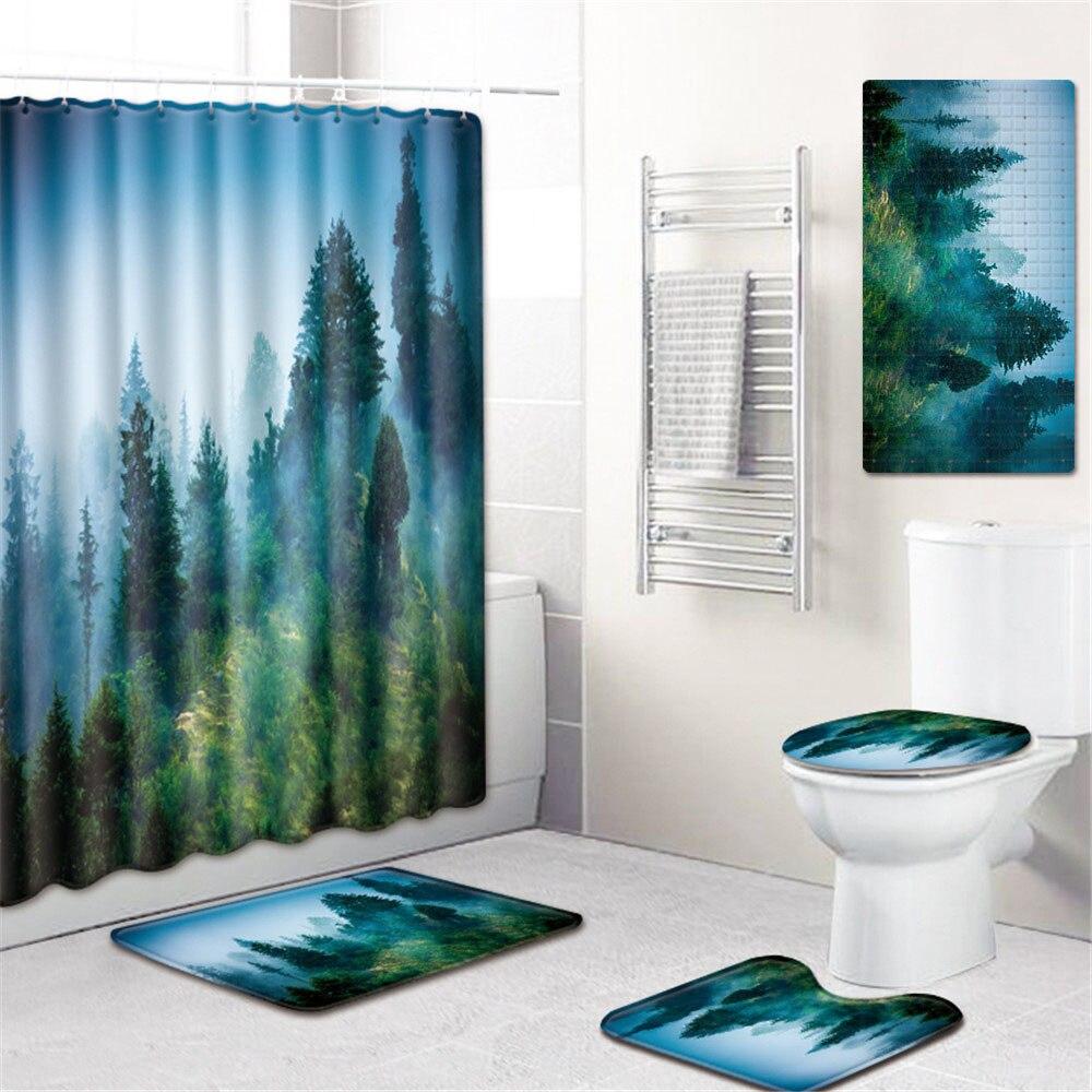 5 шт./компл. 3d Шторки для душа с принтом для ванны водонепроницаемый из полиэстера ткань Противоскользящий коврик для ванной коврик для унитаза - 6