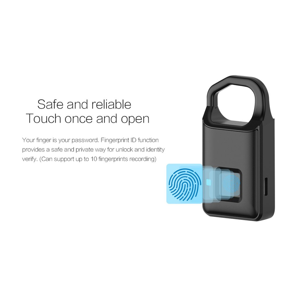 Smart Fingerprint Padlock Anti-Theft Keyless Padlock Door Luggage Case Lock USB Charging Cabinet Backpack Home Security