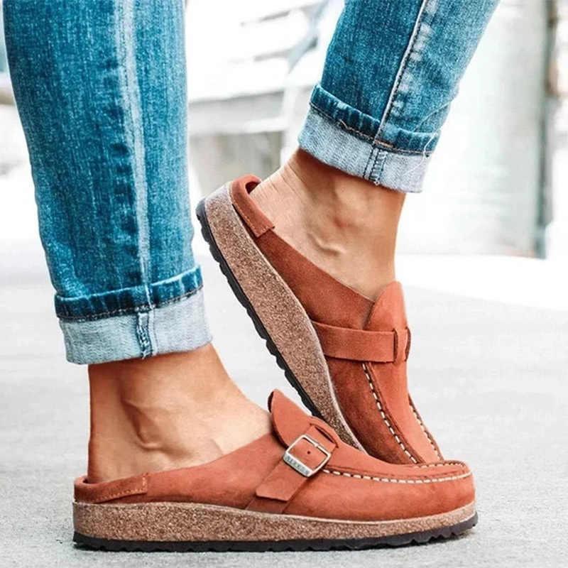 Yaz Vintage Flats ayakkabı kadın dikiş toka rahat loafer'lar şeker renk bayanlar ayakkabı Zapatos kayma konfor kadın terlik