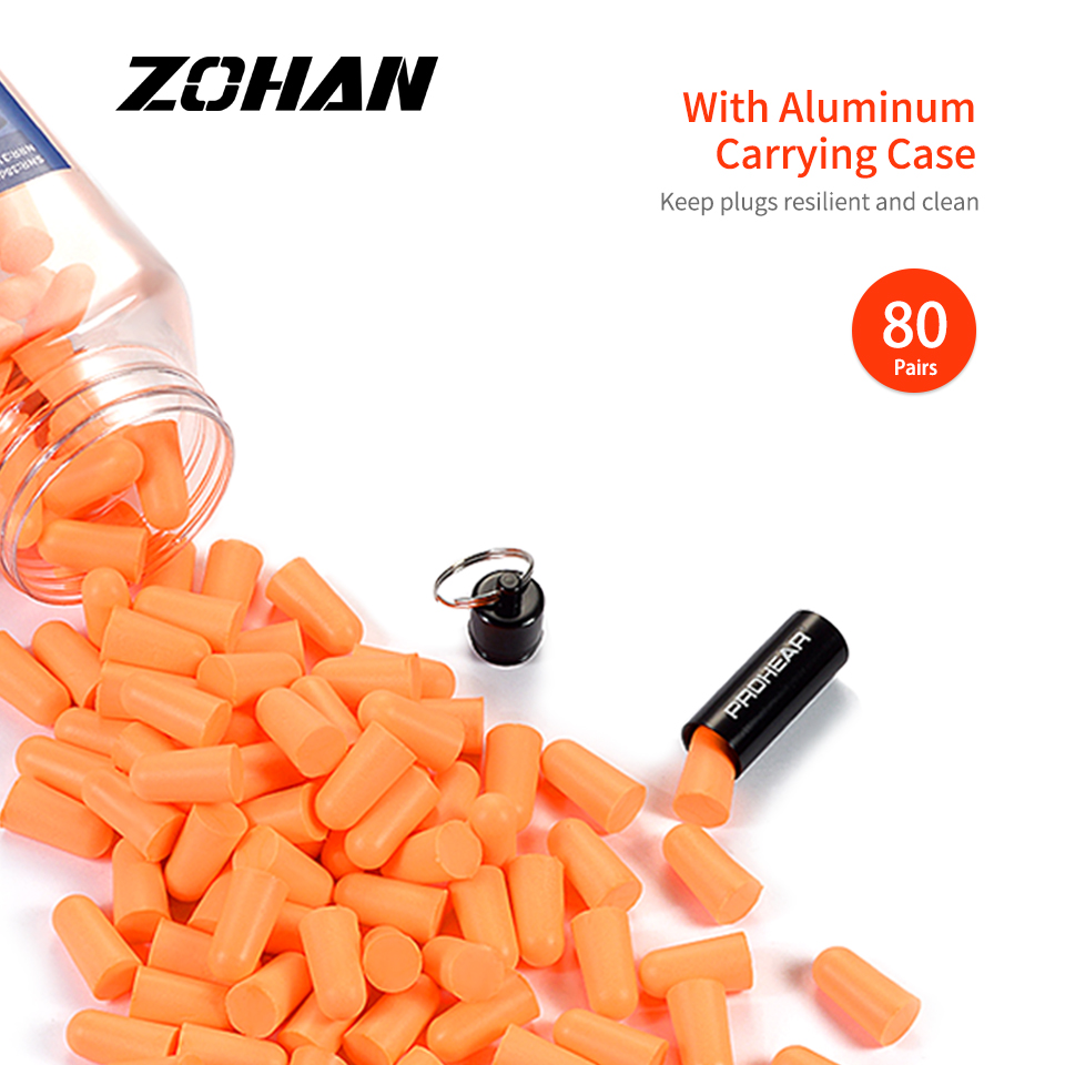 ZOHAN 80 Pairs Foam Ear Plugs Noise Blocker/Filter Hearing Protector NRR 31dB Noise Reduction With Carrying Case For Sleep