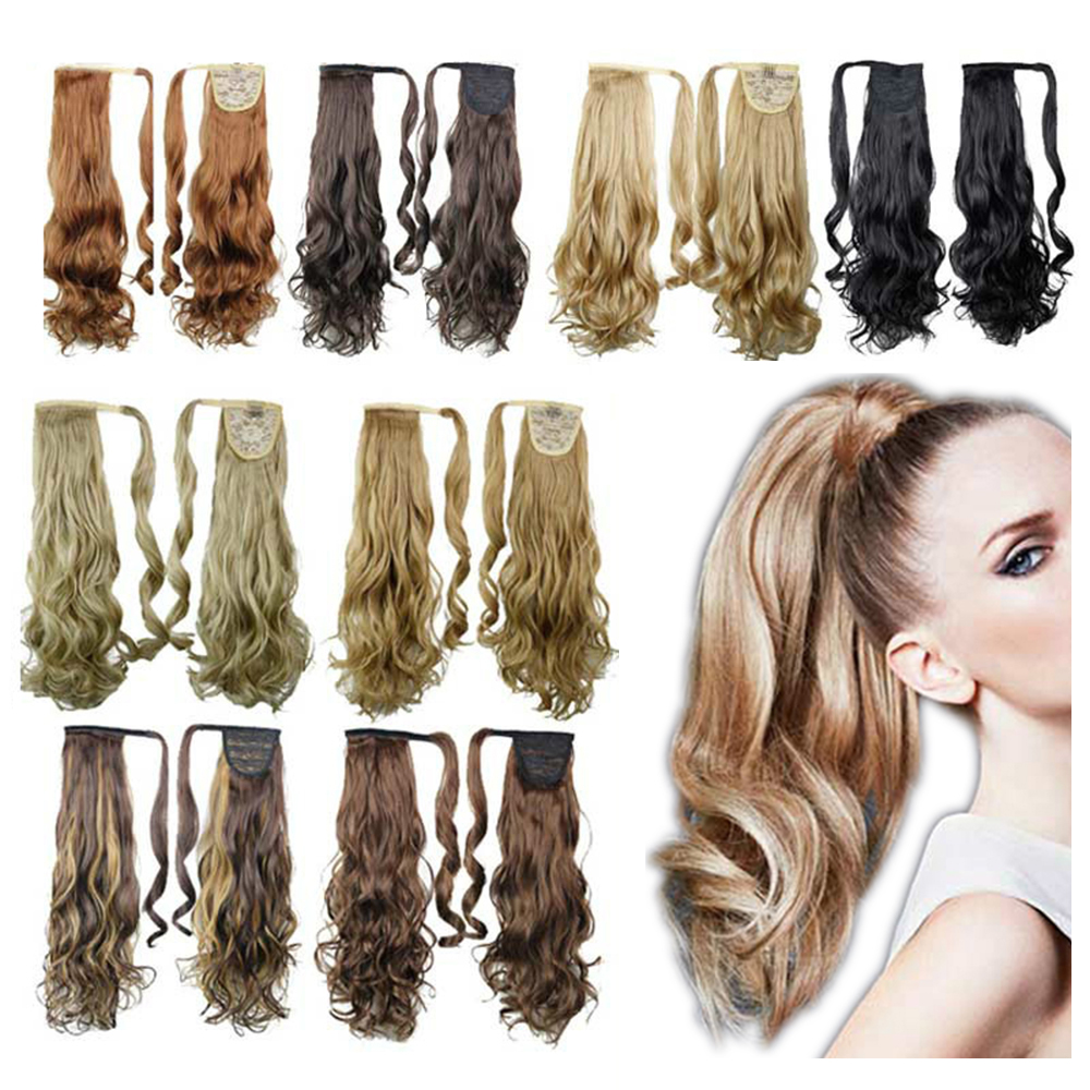 Soowee 10 Colors Synthetic Hair Wavy Clip In Ponytail Hair Extensions Hairpiece Fake Hair Pony Tails Ponytails Hair Pieces