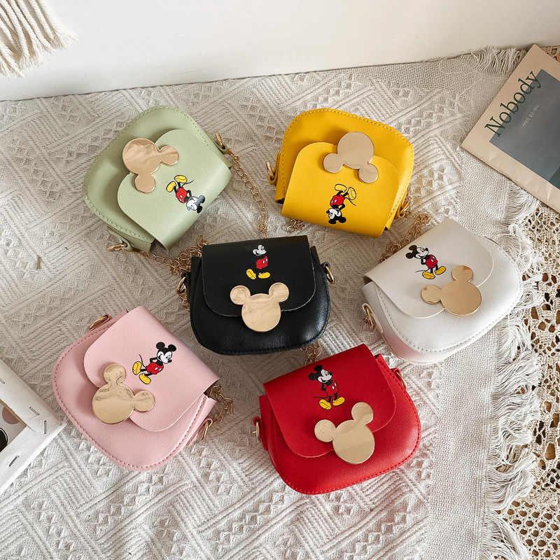 Disney-mini monedero de mickey mouse para mujer, bandolera mensajero de pu, monedero de NUEVO Bolso, bolso de cadena con patrón de Mickey mouse, 2020