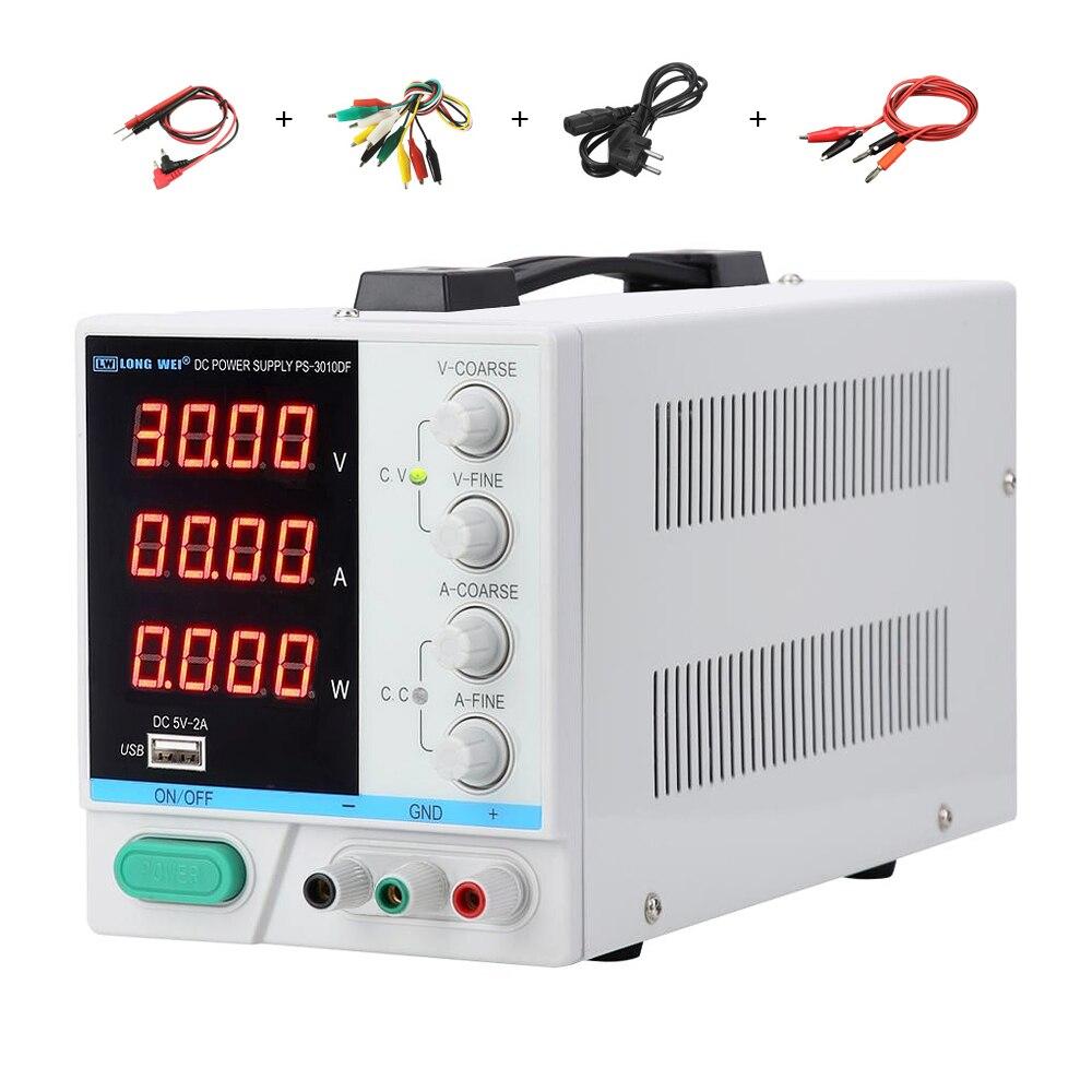 Alimentation 30V, 10a, cc, affichage 4 chiffres, réparation de charge USB, alimentation de laboratoire PS-3010DF régulée