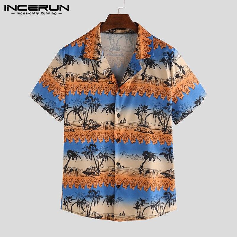 INCERUN Fashion Men Hawaiian Shirt Breathable Print Beach Lapel Streetwear Camisa Button 2020 Short Sleeve Tropical Shirts Men 7
