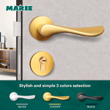MARIE LH3020 Furniture Black Door Handle For Interior Doors Lock Home Bedroom Door Knob Mute Split Lock Modern Door Lever Handle