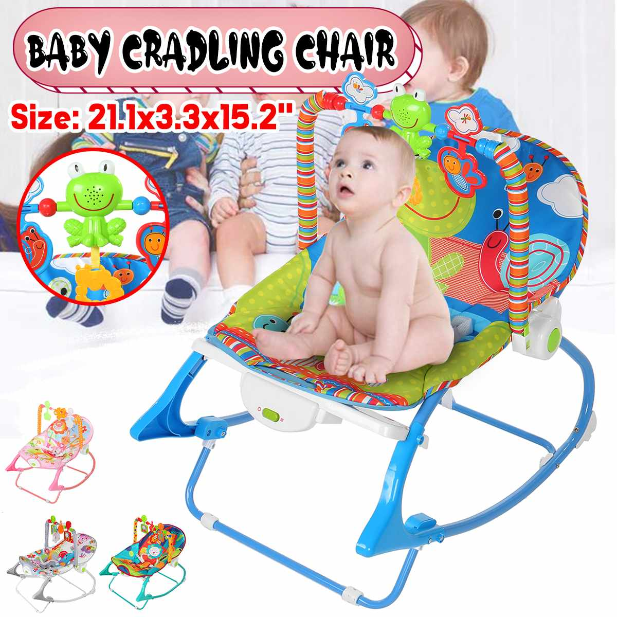 4 Colors Baby Bouncer Toddle Chair 3 in 1 Music Cradle Rattle Rocker Bouncy Rocking Chair New Kids Toys 43x60x80cm