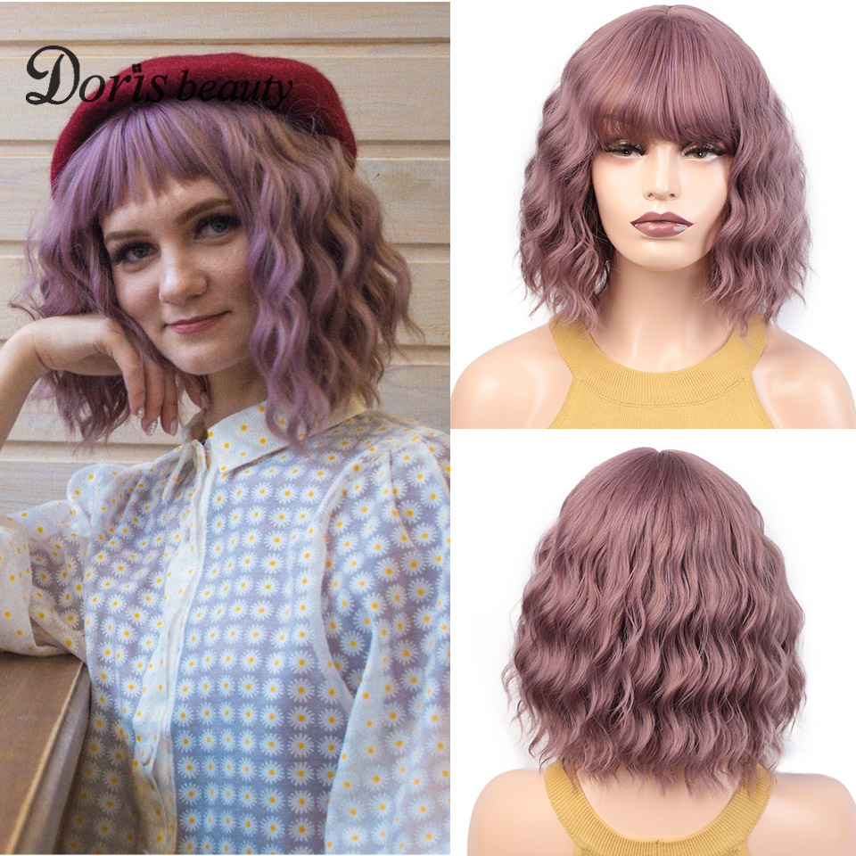 Synthetic Short Pink Wig With Bangs Lolita Wigs For Women Cosplay Water Wave Purple Brown Gray Wig From Doris Beauty