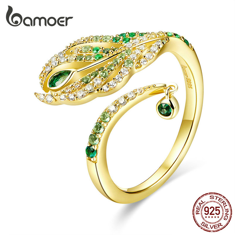 Bamoer Feather Of Peacock Queen Open Finger Rings Luxury 925 Sterling Silver Gold Color Wedding Statement Jewelry BSR067
