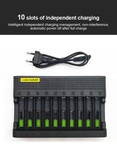 Image 2 - PUJIMAX10 slots 배터리 충전기 18650 EU 스마트 충전 26650 21700 14500 26500 22650 26700 리튬 이온 충전지 충전기