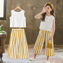 Clothes For Girls Sets Kids Fashion Striped Wide Leg Pants + Sleeveless Vest Two Piece Set Children Suit Girl Outfits 12 Years цена 2017