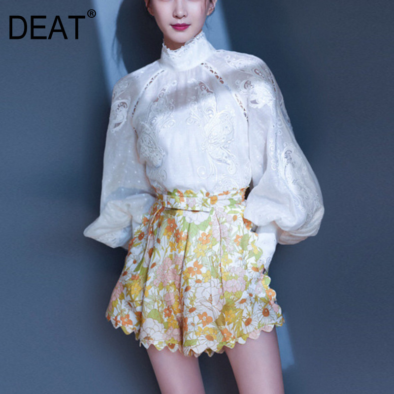 DEAT 2020 Spring And Summer New Women Fashion Clothes Tide Turtleneck Lantern Sleeves Hollow Out Shirt And Hot Shorts WK45609