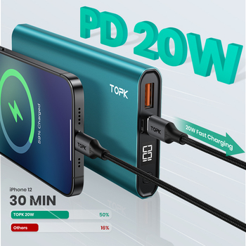 TOPK I1007P внешний аккумулятор 10000 мАч PD 20 Вт