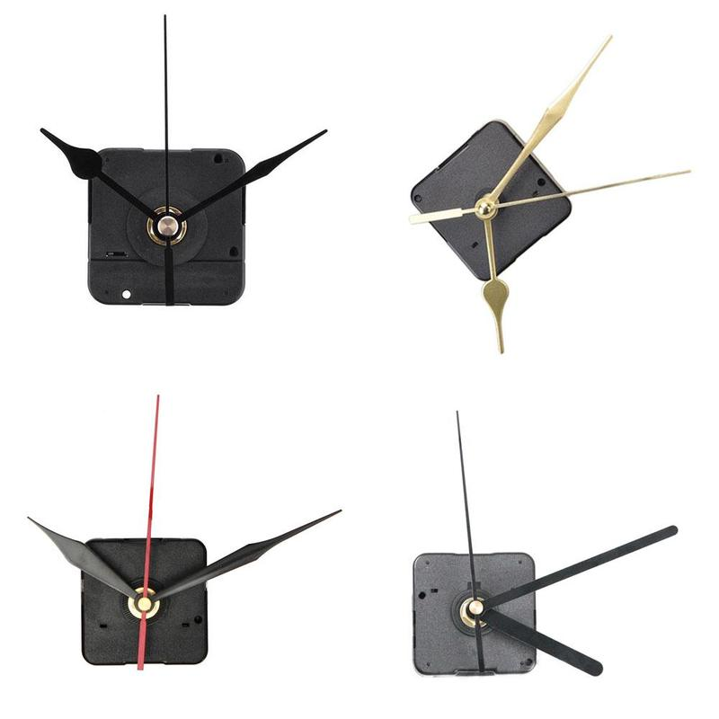 Quartz Wall Clock Movement Mechanism Black Metal Pointer DIY Repair Parts Kit
