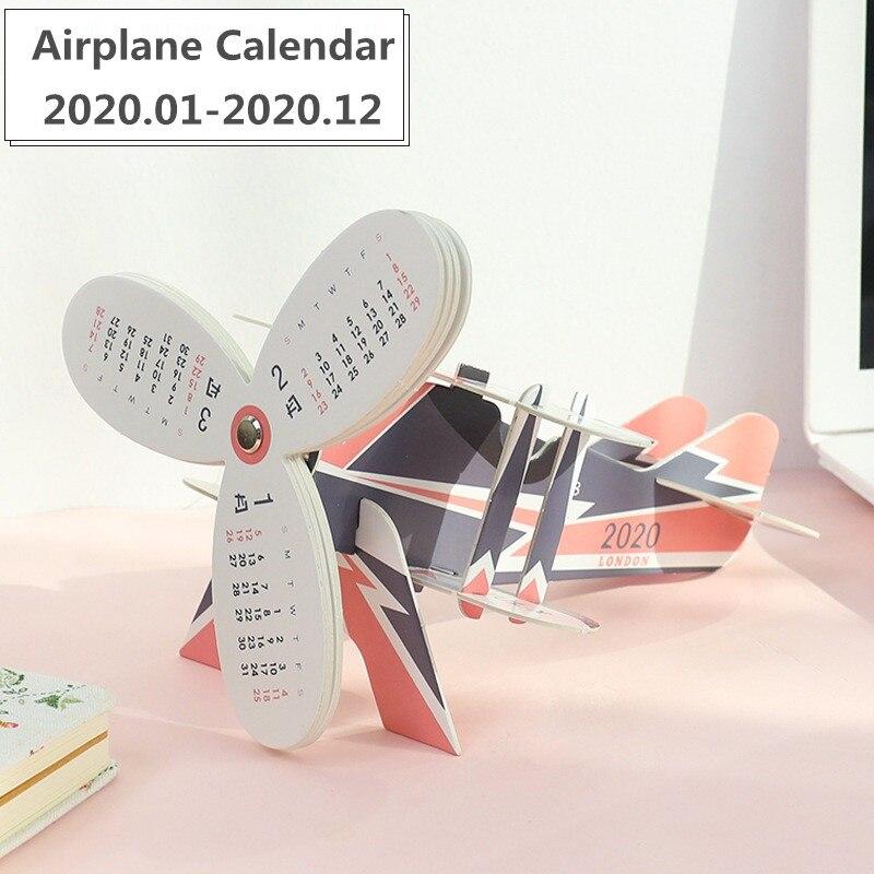 New 2020 Cute Cat Airplane Model Desk Calendar Creative DIY Cartoon Calendars Daily Schedule Planner 2020.01-2020.12
